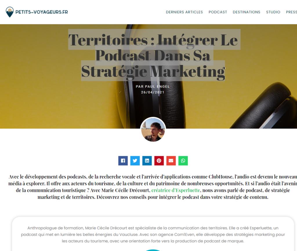Marie-Cécile Drécourt interviewée par Paul Engel - Territoires : Intégrer Le Podcast Dans Sa Stratégie Marketing