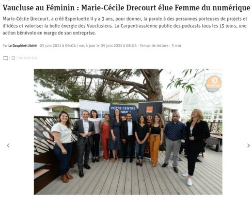 Vaucluse au Féminin : Marie-Cécile Drecourt élue Femme du numérique - Vaucluse Matin juin 2021